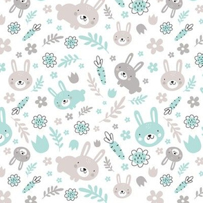 Rabbits in the garden-turquoise