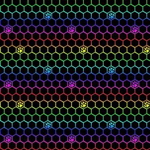 Canine paw prints on hexagons - rainbow dog paws