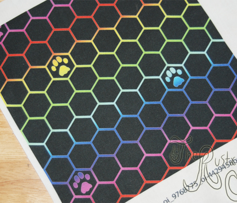 Feline paw prints on hexagons - rainbow cat paws