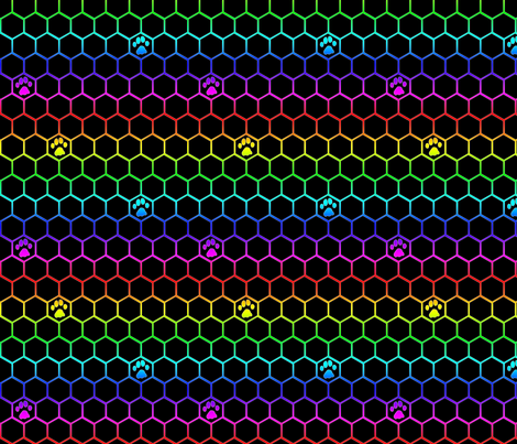 Feline paw prints on hexagons - rainbow cat paws fabric by rusticcorgi on Spoonflower - custom fabric