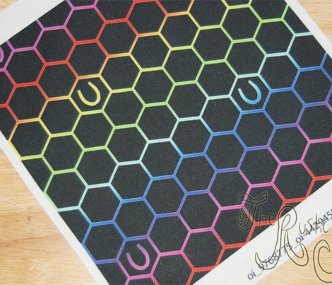 Horseshoes on hexagons - rainbow unicorn tracks