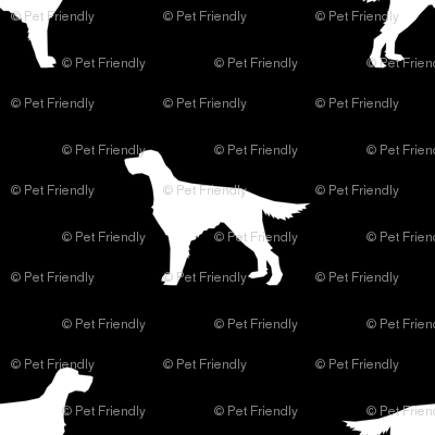 Irish Setter dog fabric silhouette pattern black
