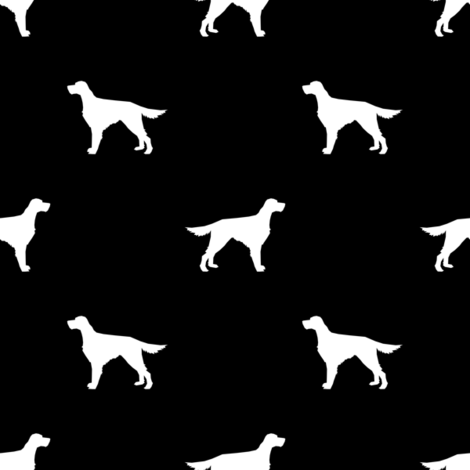Irish Setter dog fabric silhouette pattern black fabric by petfriendly on Spoonflower - custom fabric