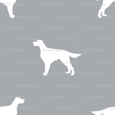 Irish Setter dog fabric silhouette pattern grey
