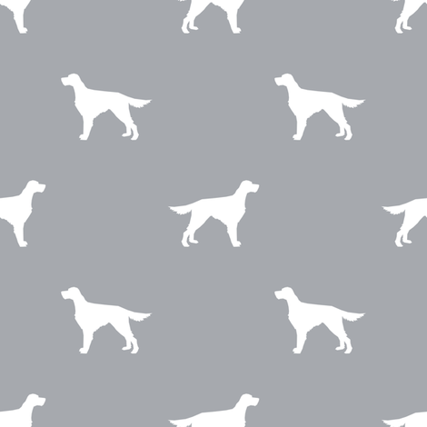 Irish Setter dog fabric silhouette pattern grey fabric by petfriendly on Spoonflower - custom fabric