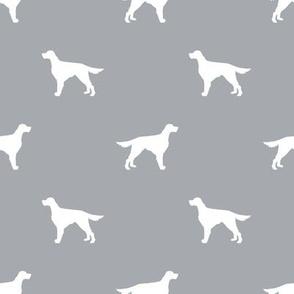 Irish Setter dog fabric silhouette pattern grey