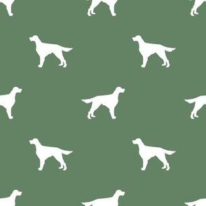 Irish Setter dog fabric silhouette pattern medium green