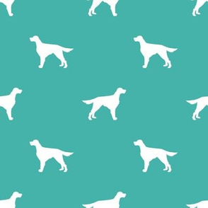 Irish Setter dog fabric silhouette pattern turquoise