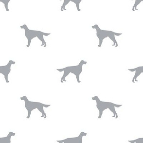 Irish Setter dog fabric silhouette pattern white grey