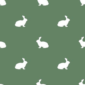 Rabbit fabric silhouette pattern green