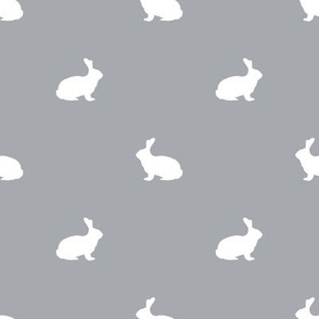Rabbit fabric silhouette pattern grey