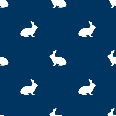 Rabbit fabric silhouette pattern navy fabric by petfriendly on Spoonflower - custom fabric