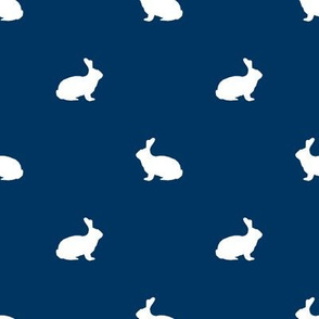 Rabbit fabric silhouette pattern navy