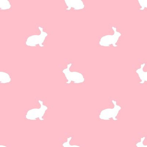 Rabbit fabric silhouette pattern pink