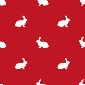 Rabbit fabric silhouette pattern red