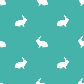 Rabbit fabric silhouette pattern turquoise