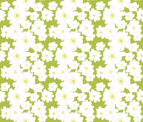 Paper Cut Florals; Daisies in a Field fabric by lisakling on Spoonflower - custom fabric