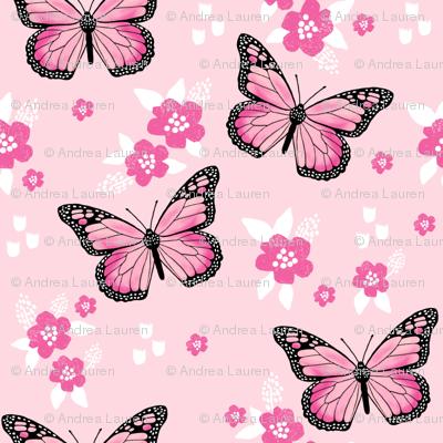butterfly fabric // monarch butterflies spring florals design andrea lauren fabric - pink