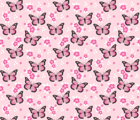 butterfly fabric // monarch butterflies spring florals design andrea lauren fabric - pink fabric by andrea_lauren on Spoonflower - custom fabric