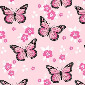 butterfly fabric // monarch butterflies spring florals design andrea lauren fabric - pink