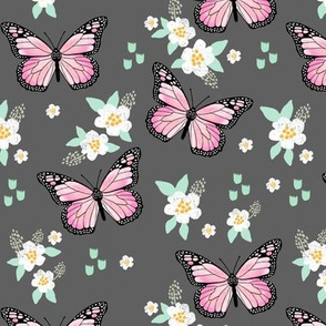 butterfly fabric // monarch butterflies spring florals design andrea lauren fabric - charcoal