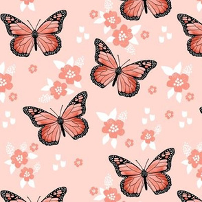butterfly fabric // monarch butterflies spring florals design andrea lauren fabric - coral and blush