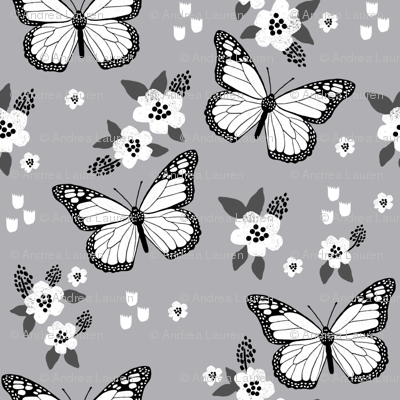 butterfly fabric // monarch butterflies spring florals design andrea lauren fabric- grey white and black
