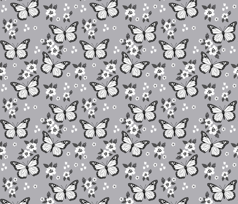butterfly fabric // monarch butterflies spring florals design andrea lauren fabric- grey white and black fabric by andrea_lauren on Spoonflower - custom fabric