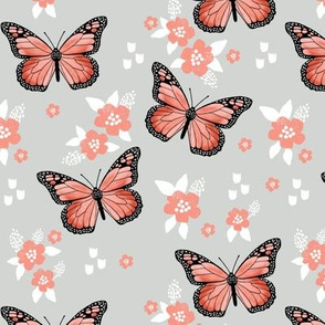 butterfly fabric // monarch butterflies spring florals design andrea lauren fabric - grey and orange