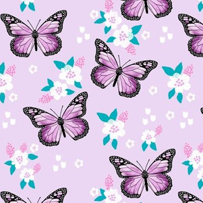 butterfly fabric // monarch butterflies spring florals design andrea lauren fabric - lavender