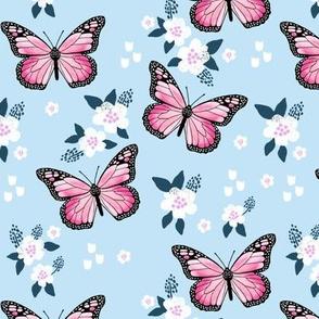butterfly fabric // monarch butterflies spring florals design andrea lauren fabric - light blue