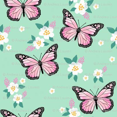 butterfly fabric // monarch butterflies spring florals design andrea lauren fabric - mint