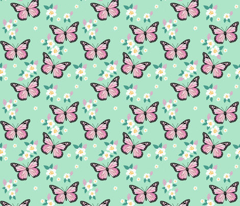 butterfly fabric // monarch butterflies spring florals design andrea lauren fabric - mint fabric by andrea_lauren on Spoonflower - custom fabric