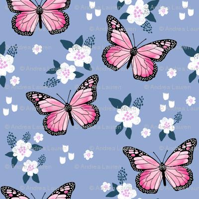 butterfly fabric // monarch butterflies spring florals design andrea lauren fabric - powder blue