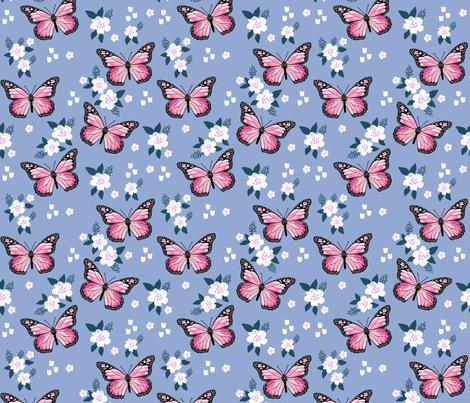 butterfly fabric // monarch butterflies spring florals design andrea lauren fabric - powder blue fabric by andrea_lauren on Spoonflower - custom fabric