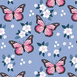 butterfly fabric // monarch butterflies spring florals design andrea lauren fabric - powder blue