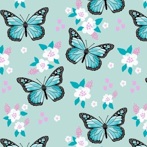 butterfly fabric // monarch butterflies spring florals design andrea lauren fabric - turquoise