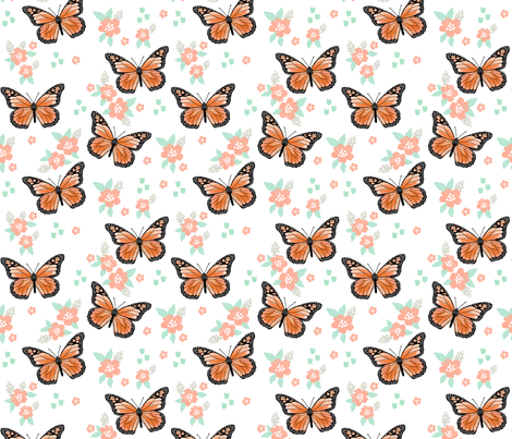 butterfly fabric // monarch butterflies spring florals design andrea lauren fabric - orange and white fabric by andrea_lauren on Spoonflower - custom fabric