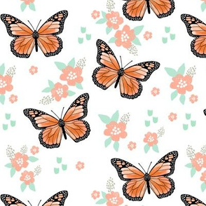 butterfly fabric // monarch butterflies spring florals design andrea lauren fabric - orange and white