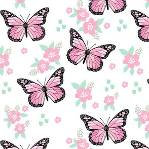 butterfly fabric // monarch butterflies spring florals design andrea lauren fabric - pink and white