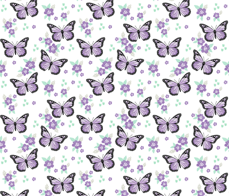 butterfly fabric // monarch butterflies spring florals design andrea lauren fabric - purple fabric by andrea_lauren on Spoonflower - custom fabric