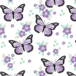 butterfly fabric // monarch butterflies spring florals design andrea lauren fabric - purple