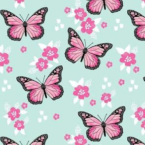 butterfly fabric // monarch butterflies spring florals design andrea lauren fabric - pink and mint