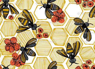 Honey Bee Hexagon Large