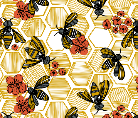 Honey Bee Hexagon Large fabric by tiffanyheiger on Spoonflower - custom fabric