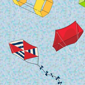 Hexagonal Kites flying