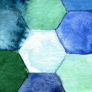Watercolored hexagon