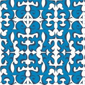ARABESQUE Royal Blue & Ink on White
