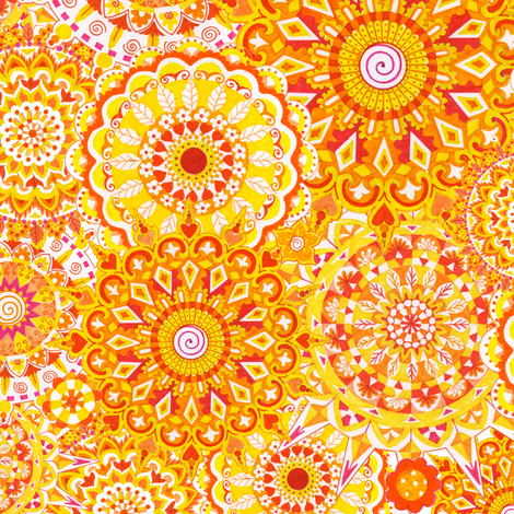 Yellow-Mandala-Daze fabric by julistyle on Spoonflower - custom fabric