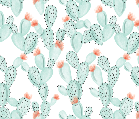 aqua paddle cactus + rose // oversized fabric by ivieclothco on Spoonflower - custom fabric